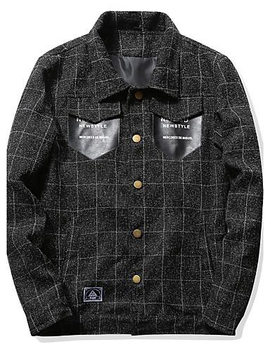 Herrn Hahnentrittmuster Einfach Freizeit Alltag Jacke,Hemdkragen Winter Herbst Langärmelige Standard Baumwolle Polyester