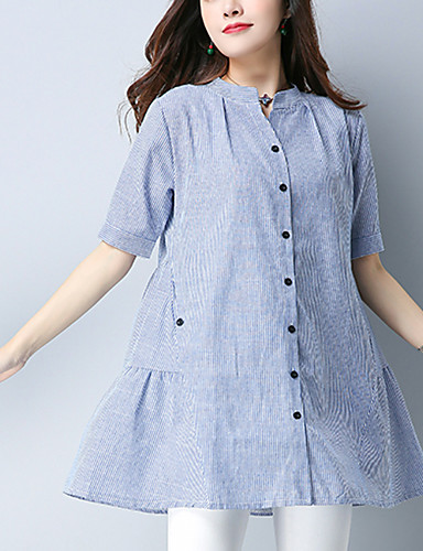 Women's Daily Vintage Spring Fall Shirt,Solid Round Neck Short Sleeves Linen Thin