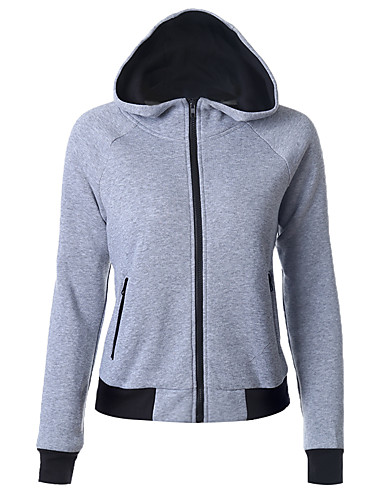 Women's Daily Sports Hoodie Solid Hooded Inelastic Cotton Long Sleeve Winter Fall