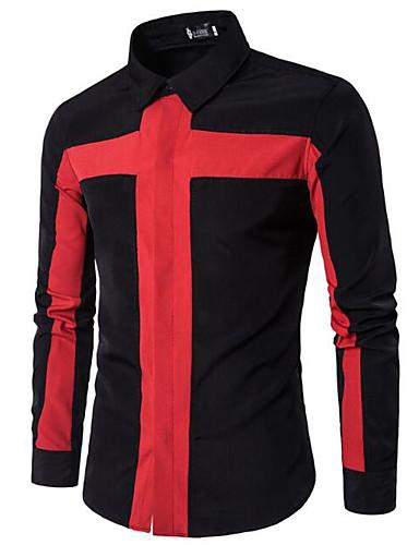 Bomull Annet Langermet,Skjortekrage Skjorte Ensfarget Stripet Enkel Fritid/hverdag Arbeid Herre