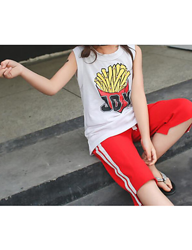 Girls' Stripe Sets,Cotton Summer Clothing Set