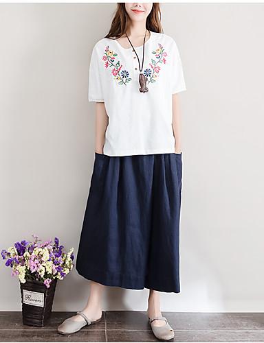 Naiset Lyhythihainen Keskipaksu Pyöreä kaula-aukko Pellava Villasekoite Kevät Kesä Yksinkertainen Vintage Rento/arki Työ T-paita,