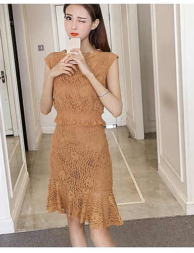 Women's Daily Casual Casual Spring Summer Blouse Dress Suits,Solid Round Neck Short Sleeve Lace Cotton Micro-elastic