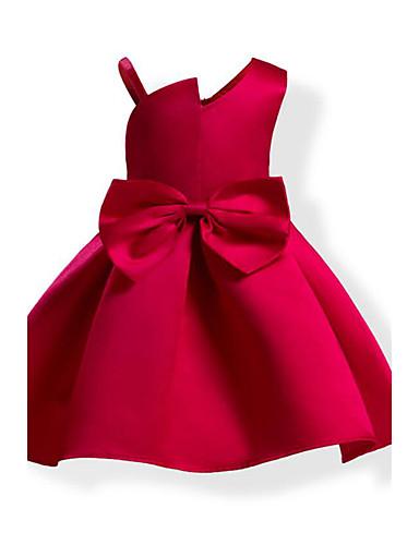 Menina de Vestido Côr Sólida Laço Moderno Todas as Estações Algodão Sem Manga Laço Azul Vermelho