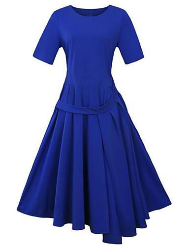 Women's Plus Size Cotton Sheath Dress - Solid Colored Blue High Rise Asymmetrical