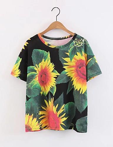 Bomull Lin Tynn Medium Kortermet,Rund hals T-skjorte Blomstret Sommer Høst Aktiv Sexy Sport Fritid/hverdag Strand Dame