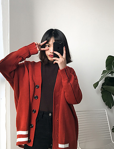 Women's Daily Casual Regular Cardigan,Solid Round Neck Long Sleeves Cotton Spring Medium Micro-elastic