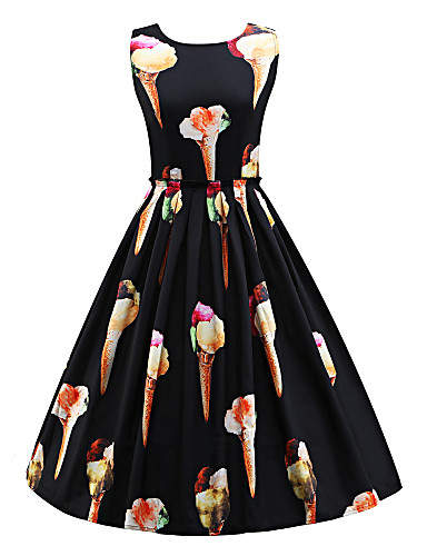 Women's Work Holiday Vintage Cotton Sheath Swing Dress - Floral Black, Vintage Style High Rise