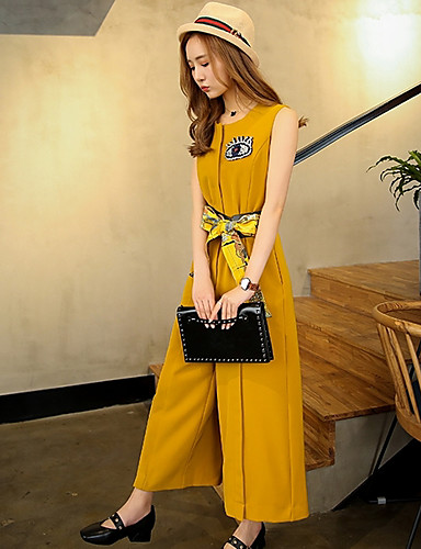 Women's Work Daily Casual Fashion Round Neck Jumpsuits