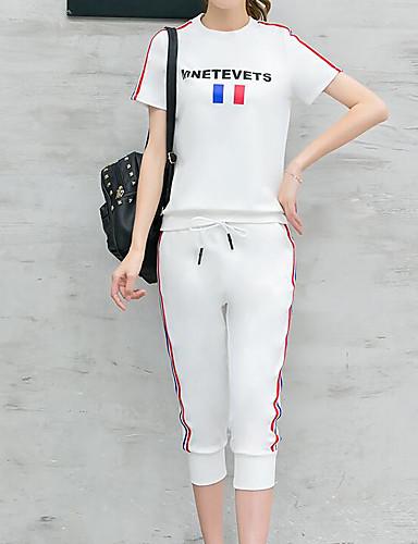 Dame Fritid Bomull T-skjorte Bukse Ensfarget / Stripet / Ord / setning / Sommer