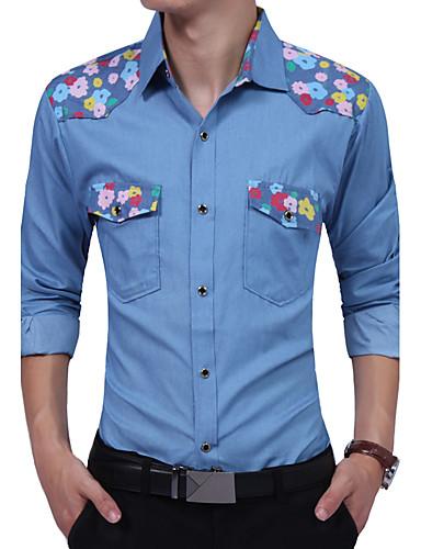 Bomull Rayon Tynn Langermet,Skjortekrage Skjorte Blomstret Fargeblokk Alle årstider Vintage Fritid Daglig Arbeid Plusstørrelser Herre