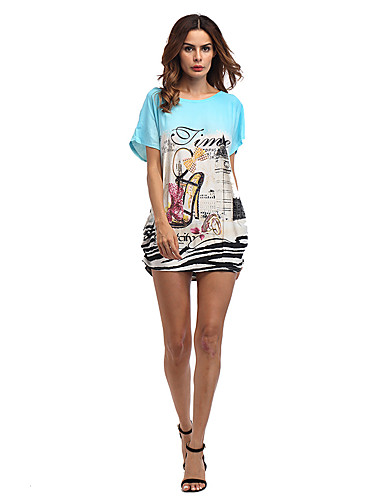 Women's Daily Holiday Going out Club Beach Sexy Street chic Loose Dress,Print Letter Round Neck Mini Short Sleeves Polyester Summer High