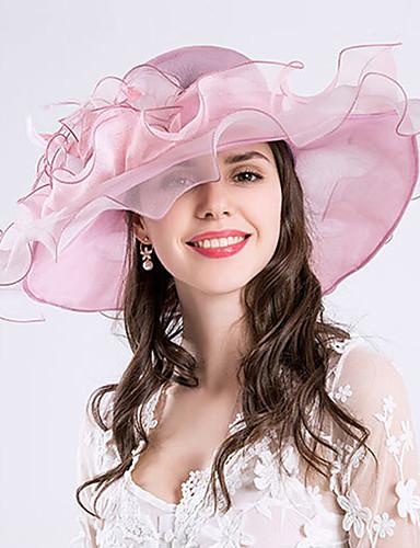 abordables Chapeau & coiffure-Plume / Soie / Organza Kentucky Derby Hat / Fascinators / Chapeaux avec Fleur 1pc Mariage / Occasion spéciale / Fête / Soirée Casque