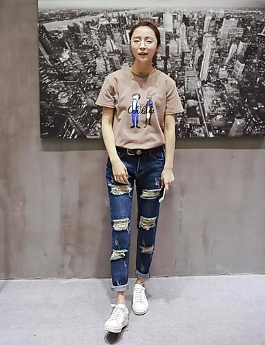 Dame Sexy Gatemote Mikroelastisk Jeans Bukser,Harem Mellomhøyt liv Ensfarget