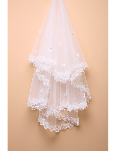 One-tier Lace Applique Edge Wedding Veil Fingertip Veils 53 Rhinestone Lace Tulle