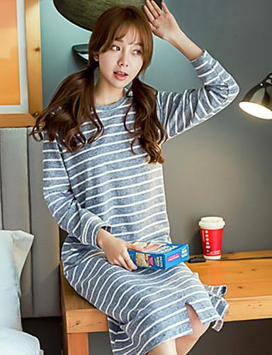 Dame Pyjamas,Stripet Medium Grå