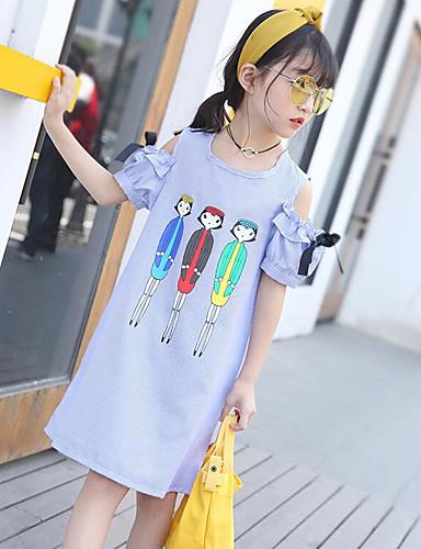 Girl's Geometric Dress Short Sleeve Cartoon Blue
