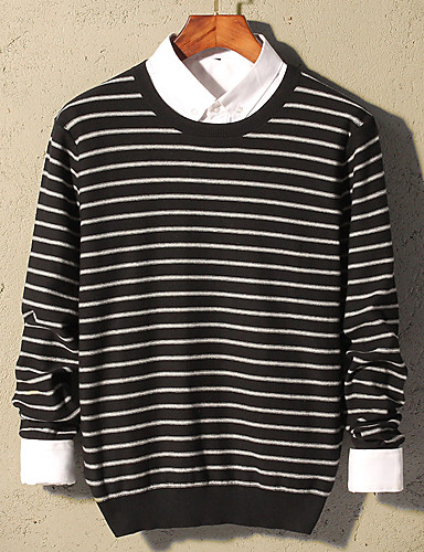 Men's Daily Work Striped Round Neck Pullover,Long Sleeves Winter Fall Cotton