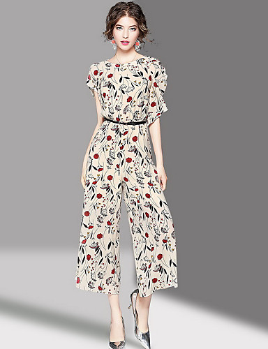 Women's Going out Cute Print Round Neck Jumpsuits,Loose Half Sleeves Summer Polyester