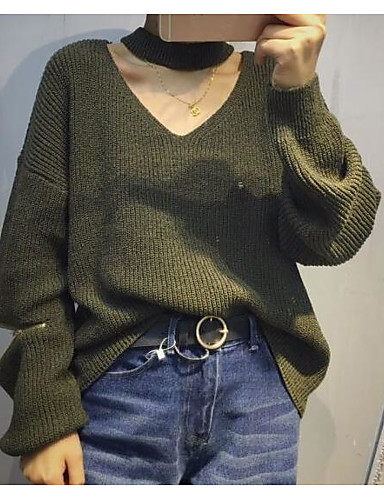Women's Daily Casual Solid V Neck Pullover, Long Sleeves Fall