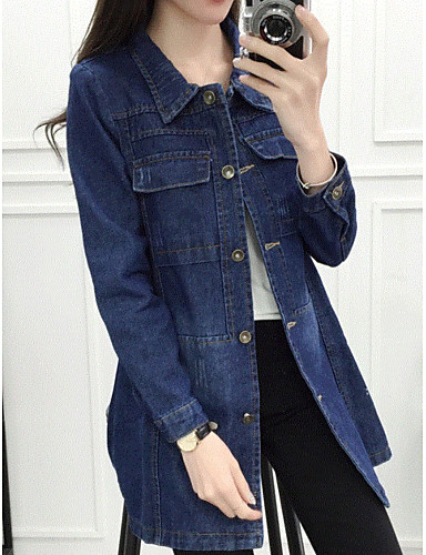 Women's Daily Modern/Comtemporary Spring/Fall Denim Jacket,Solid Shirt Collar Long Sleeve Long Cotton