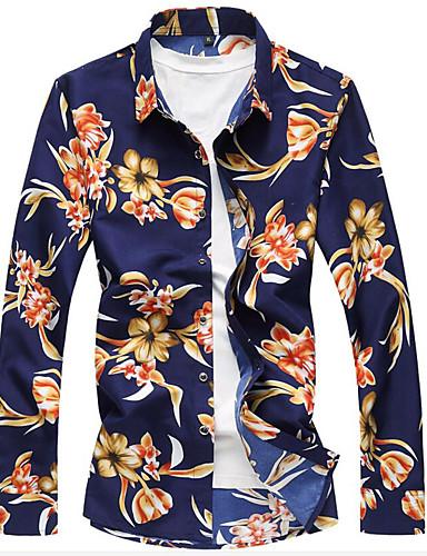 Homens Camisa Social Temática Asiática Estilo Floral, Floral