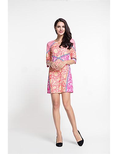 MARCOBOR Women's Party Vintage Street chic Sheath Dress,Print Round Neck Above Knee Half Sleeves Polyester Summer Mid Rise Inelastic Medium
