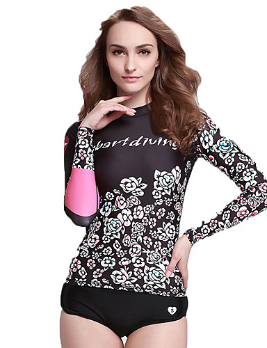 2017377fd4 SBART Women's Diving Rash Guard Chinlon Elastane Long Sleeve Swimwear Beach  Wear Top Print Swimming Diving Surfing / High Elasticity
