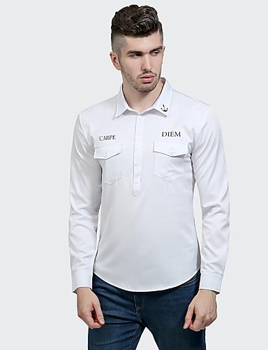 Herren Solide Street Schick Lässig/Alltäglich Hemd,Hemdkragen Langarm Polyester