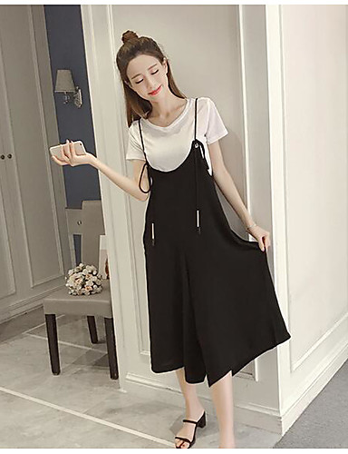 Women's Daily Casual Casual Summer T-shirt Pant Suits,Solid Round Neck Short Sleeve Cotton/nylon with a hint of stretch Micro-elastic