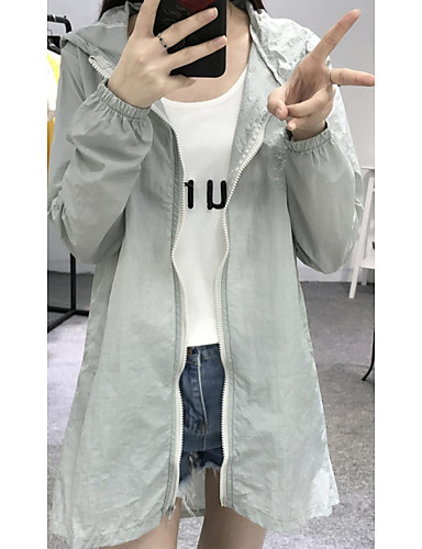 Women's Daily Modern/Comtemporary Summer Trench Coat,Quotes & Sayings Hooded Long Sleeve Long Polyester