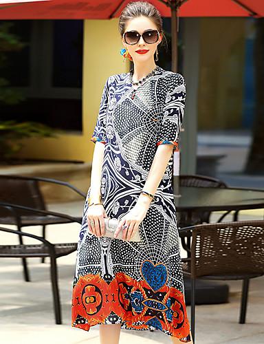 Women's Going out Cute Sheath Dress,Print Round Neck Midi Half Sleeves Silk Summer Mid Rise Micro-elastic Medium