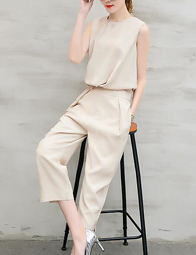 Women's Daily Casual Summer T-shirt Pant Suits,Solid Round Neck Sleeveless 100%Wool