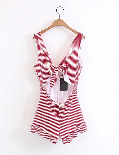 Women's Going out Daily Club Holiday Sexy Street chic Striped V Neck Rompers