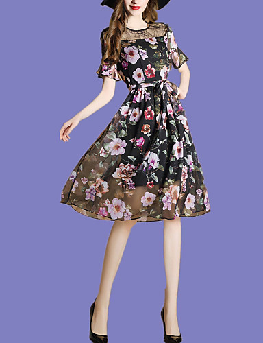 Women's Going out / Holiday Flare Sleeve Loose / Chiffon Dress - Print Pleated