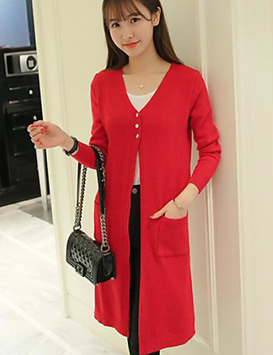 Women's Holiday Long Cardigan,Solid Round Neck Long Sleeve Others Spring Fall Medium Micro-elastic