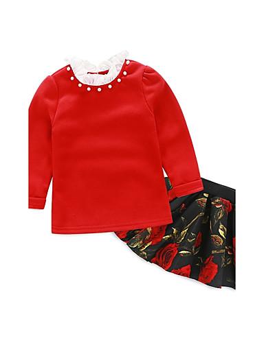 Mädchen Sets einfarbig Druck Baumwolle Elasthan Sommer Herbst Lange Ärmel Kleidungs Set