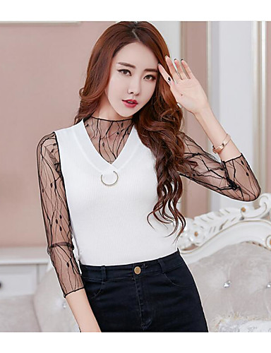 Women's Daily Sexy Regular Cardigan,Solid V Neck 3/4 Length Sleeves Cotton Others Summer Thin Micro-elastic
