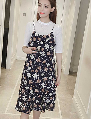 Women's Daily Casual Loose Dress,Floral Round Neck Knee-length Half Sleeves Cotton Spring Mid Rise Micro-elastic Medium