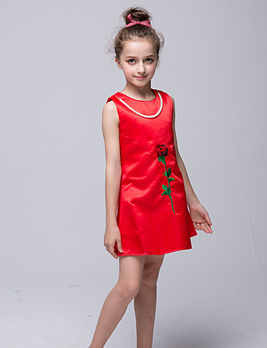 Sheath / Column Short / Mini Flower Girl Dress - Satin Sleeveless Jewel Neck with Imitation Pearl Appliques Embroidery by Bflower