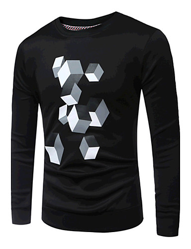 Men's Sports Daily Casual Vintage Sweatshirt Print Round Neck Micro-elastic Cotton Long Sleeve Spring Fall