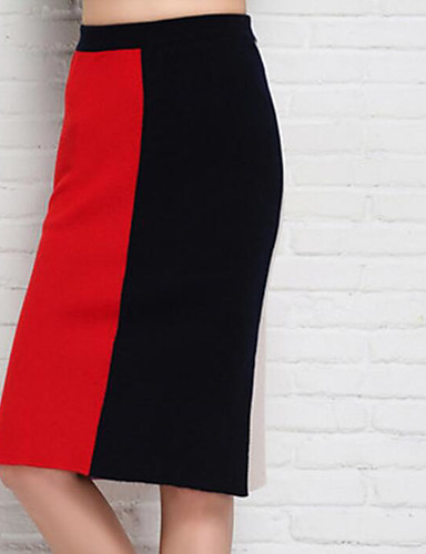 Women's Daily Midi Skirts Bodycon Solid Fall Winter