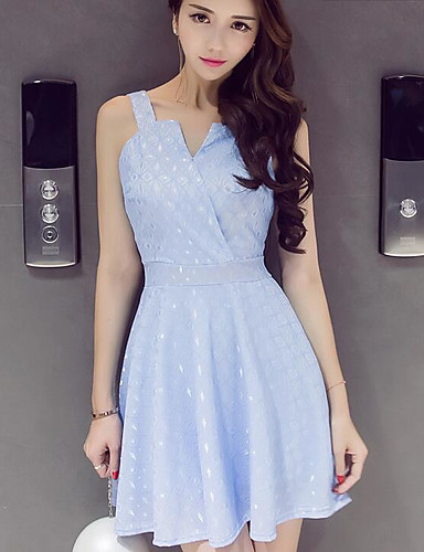 Women's Holiday / Going out Cotton Skater Dress - Solid Colored Strap / Spring / Summer