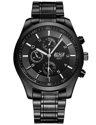 Men's Wrist Watch Quartz Alloy Band Analog Casual Fashion Dress Watch Black - Black Silver Red