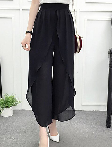 Women's Casual Wide Leg / Relaxed Pants - Solid Colored / Summer