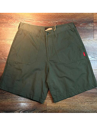 Men's Mid Rise Micro-elastic Shorts Pants,Simple Relaxed Solid