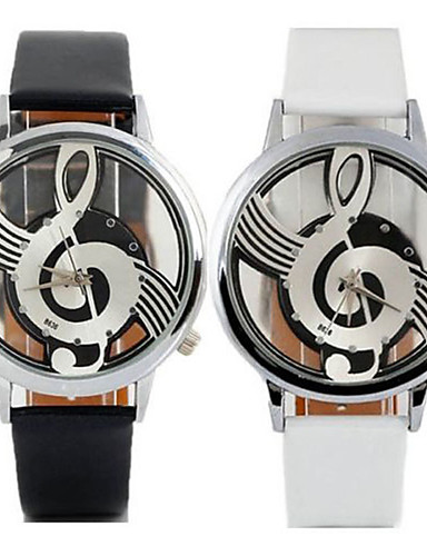 Women's Fashion Watch Casual Watch Quartz Casual Watch Leather Band Casual Black White