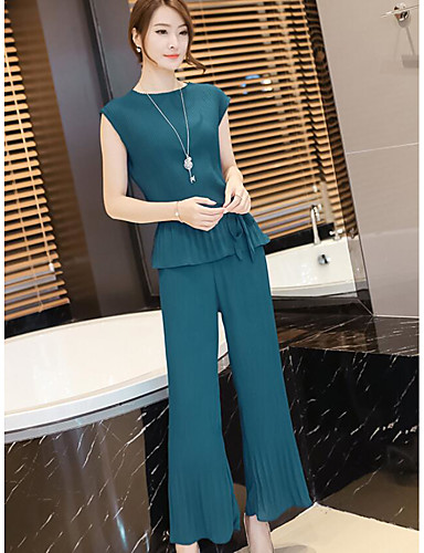 Women's Daily Casual Summer T-shirt Pant Suits,Solid Round Neck Sleeveless Acrylic