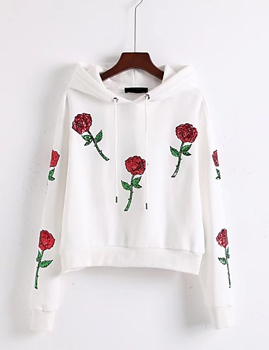 Women's Going out Daily Casual Cute Active Hoodie Print Hooded Micro-elastic Cotton Long Sleeve Winter Spring Fall