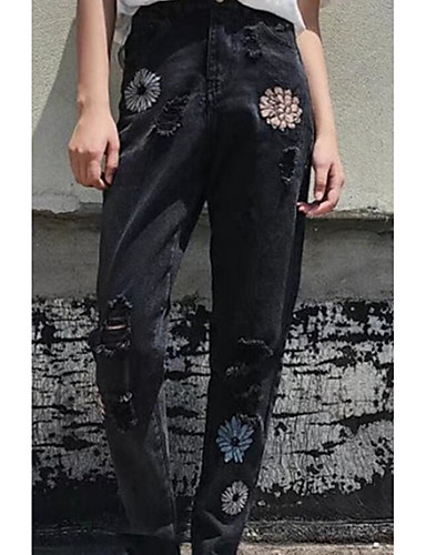 Women's Mid Rise Micro-elastic Jeans Pants,Cute Street chic Skinny Embroidered